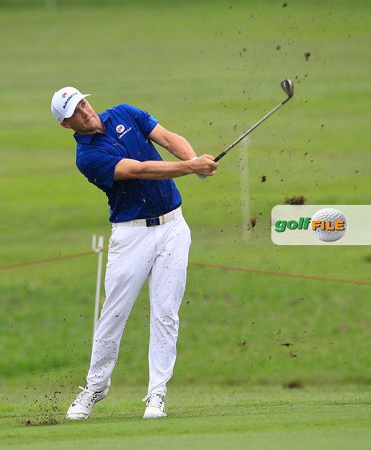 Alex Noren (Europe) on the 1st fairway during the Singles Matches of the Eurasia Cup at Glenmarie Golf and Country Club on the Sunday 14th January 2018.<br /> Picture:  Thos Caffrey / www.golffile.ie