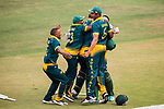Players of South Africa celebrate after winning the Hong Kong Cricket World Sixes 2017 Cup final match between Pakistan vs South Africa at Kowloon Cricket Club on 29 October 2017, in Hong Kong, China. Photo by Vivek Prakash / Power Sport Images