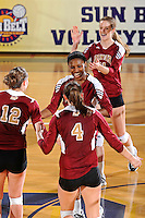 17 November 2011:  Denver middle blocker Faimie Kingsley (13) celebrates winning a point in the fourth set as the FIU Golden Panthers defeated the Denver University Pioneers, 3-1 (25-21, 23-25, 25-21, 25-18), in the first round of the Sun Belt Conference Tournament at U.S Century Bank Arena in Miami, Florida.
