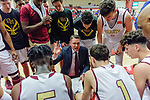 WEST HARTFORD, CT. 15 March 2018-031518BS02 - Sacred Heart Head coach Jin Carroll discusses strategy with his team in the final seconds of the Div I semi-finals between Sacred Heart vs Windsor at University of Hartford on Thursday evening. Sacred Heart won in a thriller 59-58 over Windsor and advances to the finals at Mohegan Sun. Bill Shettle Republican-American