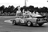 LE MANS, FRANCE: The Porsche 924 Carrera GTR of Jim Busby, Doc Bundy and Marcel Mignot is driven through the Mulsanne Corner during the 24 Hours of Le Mans on June 20, 1982, at Circuit de la Sarthe in Le Mans, France.