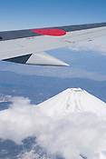 Mt Fuji viewed from a Japan Airlines (JAL) flight from Narita to Nagoya.