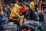 verletzt: Max Haefner (TVB Stuttgart #3)  beim Spiel in der Handball Bundesliga, TVB 1898 Stuttgart - SC DHfK Leipzig.<br /> <br /> Foto © PIX-Sportfotos *** Foto ist honorarpflichtig! *** Auf Anfrage in hoeherer Qualitaet/Aufloesung. Belegexemplar erbeten. Veroeffentlichung ausschliesslich fuer journalistisch-publizistische Zwecke. For editorial use only.