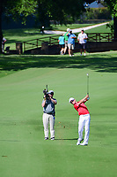 Zach Johnson (USA) hits his approach shot on 18 during round 2 of the Dean &amp; Deluca Invitational, at The Colonial, Ft. Worth, Texas, USA. 5/26/2017.<br /> Picture: Golffile | Ken Murray<br /> <br /> <br /> All photo usage must carry mandatory copyright credit (&copy; Golffile | Ken Murray)