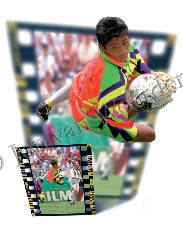 Mexico's national team goalkeeper Jorge Campos makes a spectacular save vs Ireland in FIFA's World Cup USA 94.