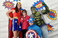 from left Wonder Woman ( Rebecca Grigg ), Maddie Walton, Hulk ( Saufoi Faavale ), Captain America, ( Mishka West ) at the Hutt City - Dowse Square Ice Rink at Dowse Square, Lower Hutt, New Zealand on Saturday 3 October 2015.<br /> Photo by Masanori Udagawa. www.photowellington.photoshelter.com.