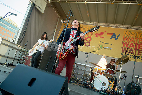 AUSTIN, TX - MARCH 15: Beach Slang perform at Waterloo Records  at SXSW 2017 on March 15, 2017 in Austin, Texas. Credit: Tony Nelson/MediaPunch