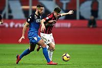 Matias Silvestre of Empoli , Krzysztof Piatek of AC Milan <br /> Milano 22-02-2019 Stadio Giuseppe Meazza in an Siro Football Serie A 2018/2019 AC Milan - Empoli <br /> Foto Image Sport / Insidefoto