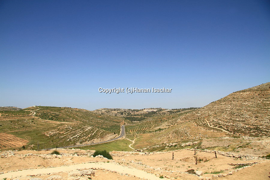 Samaria, the summit of Tel Shiloh, a view north of the observation tower