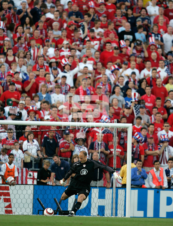 USA's goalkeeper Kasey Keller, sends the ball downfield in front of the Sam's Army supporters group, in the first half of the USA's 2-0 victory over Mexico to clinch a FIFA World Cup berth, in Columbus, OH, Saturday, Sept., 3, 2005.