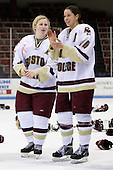 Tracy Johnson (Boston College - 5), Maggie Taverna (Boston College - 10) - The Boston College Eagles defeated the Harvard University Crimson 1-0 to win the Beanpot on Tuesday, February 10, 2009, at Matthews Arena in Boston, Massachusetts.