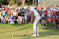 Haotong Li (CHN) takes his putt to win the playoff hole at the end of Sunday's Final Round of the 2018 Turkish Airlines Open hosted by Regnum Carya Golf &amp; Spa Resort, Antalya, Turkey. 4th November 2018.<br /> Picture: Eoin Clarke | Golffile<br /> <br /> <br /> All photos usage must carry mandatory copyright credit (&copy; Golffile | Eoin Clarke)