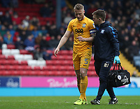 Preston North End's Tom Clarke receives attention on the pitch for a head injury<br /> <br /> Photographer Rachel Holborn/CameraSport<br /> <br /> The EFL Sky Bet Championship - Blackburn Rovers v Preston North End - Saturday 18th March 2017 - Ewood Park - Blackburn<br /> <br /> World Copyright &copy; 2017 CameraSport. All rights reserved. 43 Linden Ave. Countesthorpe. Leicester. England. LE8 5PG - Tel: +44 (0) 116 277 4147 - admin@camerasport.com - www.camerasport.com