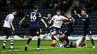 Preston North End's Jordan Storey pounces on a loose ball in the penalty area <br /> <br /> Photographer Andrew Kearns/CameraSport<br /> <br /> The EFL Sky Bet Championship - Preston North End v Derby County - Friday 1st February 2019 - Deepdale Stadium - Preston<br /> <br /> World Copyright © 2019 CameraSport. All rights reserved. 43 Linden Ave. Countesthorpe. Leicester. England. LE8 5PG - Tel: +44 (0) 116 277 4147 - admin@camerasport.com - www.camerasport.com