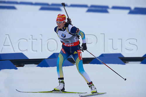 22.03.2014  Oslo, Norway The E.ON IBU World Cup Biathlon 2014  Mariya Panfilova of Ukraine in action during the ladies 10 kilometre  pursuit at The EON IBU World Cup Biathlon Final from Holmenkollen in Oslo, Norway.