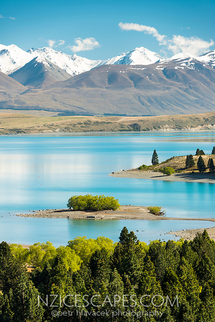 Picture perfect Lake Tekapo with Southern Alps in background, Mackenzie Country, South Island, New Zealand