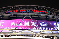 General view of the London Stadium at night during West Ham United vs Cardiff City, Premier League Football at The London Stadium on 4th December 2018