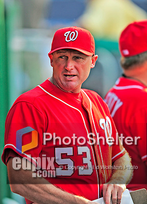 6 June 2009: Washington Nationals' bullpen coach Randy Knorr awaits the start of play in the dugout prior to a game against the New York Mets at Nationals Park in Washington, DC. The Nationals defeated the Mets 7-1, marking pitcher John Lannan's first complete game of his career. Mandatory Credit: Ed Wolfstein Photo