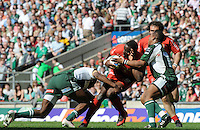 Twickenham, GREAT BRITAIN, Toulouse s' Yannick NYANGA, tackled by, left, Topsy OJO, and during the, first half  Heineken, Semi Final, Cup Rugby Match,  London Irish vs Toulouse, at the Twickenham Stadium on Sat 26.04.2008 [Photo, Peter Spurrier/Intersport-images]