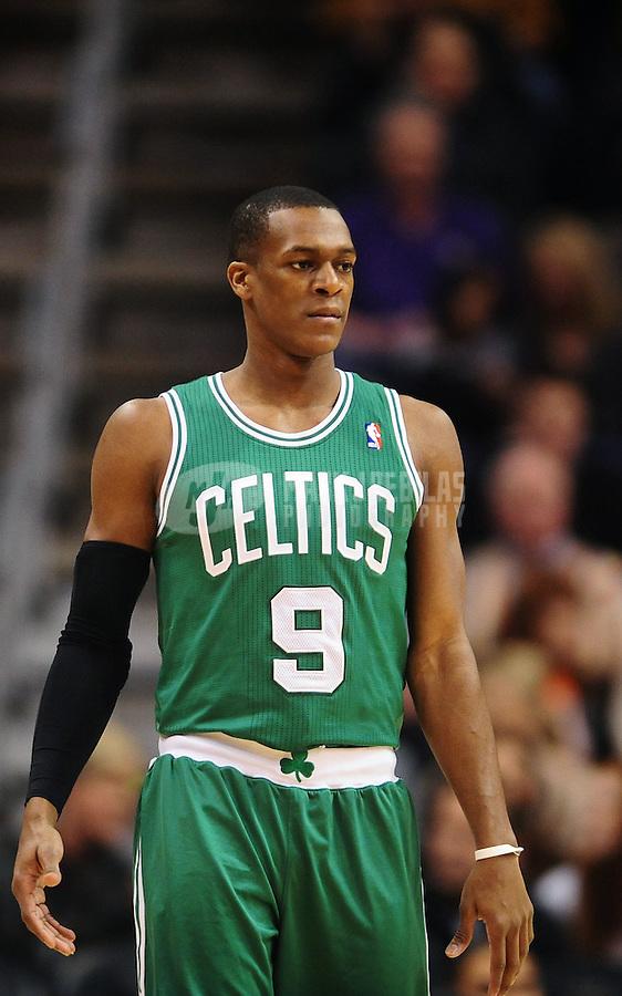 Jan. 28, 2011; Phoenix, AZ, USA; Boston Celtics guard Rajon Rondo (9) against the Phoenix Suns at the US Airways Center. Mandatory Credit: Mark J. Rebilas-