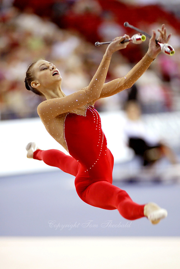 September 27, 2003; Budapest, Hungary; TAMARA YEROFEEVA of Ukraine leaps to re-catch clubs at 2003 World Championships.