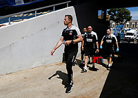 18th July 2020; The Kiyan Prince Foundation Stadium, London, England; English Championship Football, Queen Park Rangers versus Millwall; Millwall Manager Gary Rowett walking from the away tunnel onto the pitch before kick off with his coaching staff