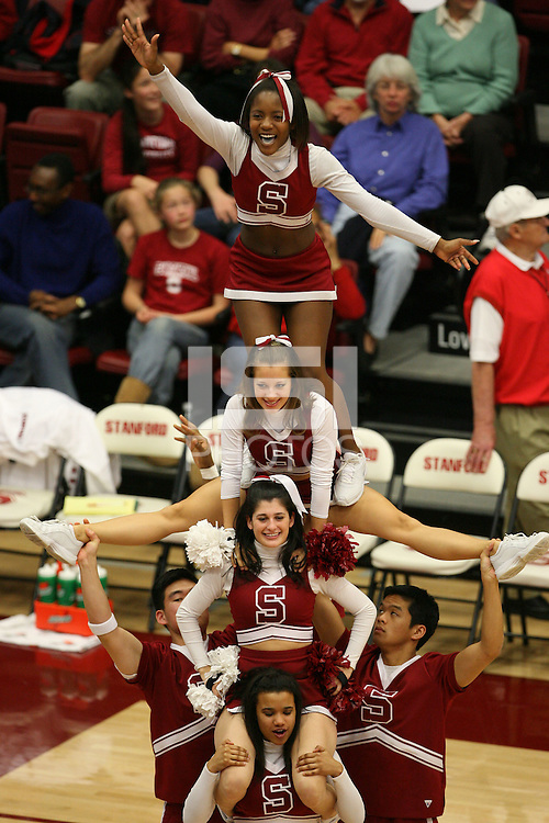 4 February 2007: Stanford Cardinal Cheerleaders during Stanford's 72-57 loss against the California Golden Bears at Maples Pavilion in Stanford, CA.