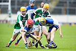 XXjob 06/05/2015 SPORT<br /> Limerick Darragh Carroll &amp;  Seamus Flanagan &amp; Waterford's Darragh McGrath &amp; Jordan Henley  in Action during their 2015 Electric Ireland Munster GAA Hurling Minor Championship.<br /> Picture  Credit Brian Gavin Press 22