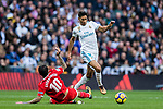 Achraf Hakimi (r) of Real Madrid fights for the ball with Ever Maximiliano Banega of Sevilla FC during the La Liga 2017-18 match between Real Madrid and Sevilla FC at Santiago Bernabeu Stadium on 09 December 2017 in Madrid, Spain. Photo by Diego Souto / Power Sport Images