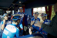 team meeting on the teambus before the recon ride<br /> <br /> 2015 Paris-Roubaix recon