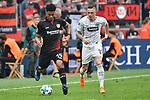 14.04.2018, BayArena, Leverkusen , GER, 1.FBL., Bayer 04 Leverkusen vs. Eintracht Frankfurt<br /> im Bild / picture shows: <br /> Marius Wolf (Frankfurt #27), <br /> Benjamin Henrichs (Leverkusen #39), <br /> <br /> <br /> Foto &copy; nordphoto / Meuter