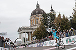 Diego Rosa (ITA) Astana wins the 2015 96th Milan-Turin 186km race starting at San Giuliano Milanese and finishing at Bisilica di Superga, Turin, Italy. 1st October 2015.<br /> Picture: Angelo Carconi/ANSA | Newsfile