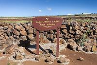 Sign at Kamehameha Birth Site, north Kohala, Big Island, Hawaii
