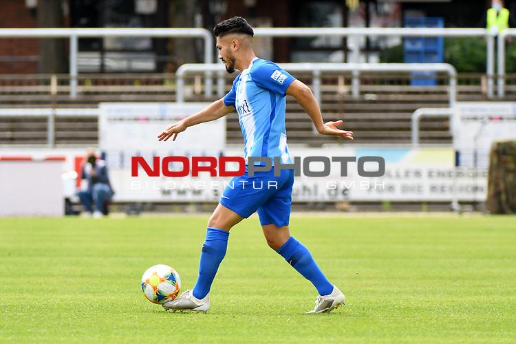 28.06.2020, Hänsch-Arena, Meppen, GER, 3.FBL, SV Meppen vs. FC Ingolstadt 04 <br /> <br /> im Bild<br /> Hassan Amin (SV Meppen, 7) am Ball.<br /> <br /> DFL REGULATIONS PROHIBIT ANY USE OF PHOTOGRAPHS AS IMAGE SEQUENCES AND/OR QUASI-VIDEO<br /> <br /> Foto © nordphoto / Paetzel