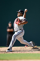 Pitcher Daysbel Hernandez (38) of the Rome Braves delivers a pitch in Game 1 of a doubleheader against the Greenville Drive on Friday, August 3, 2018, at Fluor Field at the West End in Greenville, South Carolina. Rome won, 7-6. (Tom Priddy/Four Seam Images)