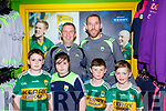 Killian and Emma Horgan Kilflynn, Jade Jameson Listry and Mark Corkery Killarney with Kerry manager Peter Keane and new Kerry GAA shop manager Sean O'Sullivan at the unveiling of the new league range on Monday
