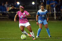 Kansas City, MO - Friday May 13, 2016: FC Kansas City defender Desiree Scott (3) against Chicago Red Stars midfielder Danielle Colaprico (24) during a regular season National Women's Soccer League (NWSL) match at Swope Soccer Village. The match ended 0-0.
