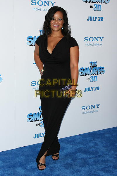 "Kimberley Locke.The World Premiere of ""The Smurfs"" at the Ziegfeld Theater, New York, USA 24th July 2011.full length black dress purple clutch bag.CAP/LNC/TOM.©TOM/LNC/Capital Pictures."