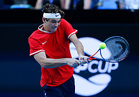 5th January 2020; RAC Arena, Perth, Western Australia; ATP Cup Australia, Perth, Day 3; Russia versus USA; Taylor Fritz of the USA plays a backhand shot against Karen Khachanov of Russia - Editorial Use