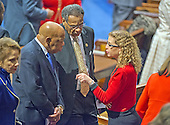 United States Representatives John Lewis (Democrat of Georgia), left, Emanuel Cleaver II (Democrat of Missouri), center, and Debbie Wasserman Schultz (Democrat of Florida), right, share a conversation prior to US President Barack Obama delivering his final State of the Union Address in the US House Chamber in the US Capitol on Tuesday, January 12, 2016.<br /> Credit: Ron Sachs / CNP<br /> (RESTRICTION: NO New York or New Jersey Newspapers or newspapers within a 75 mile radius of New York City)