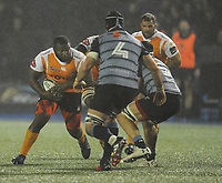 Toyota Cheetahs&rsquo; Ox Nche under pressure from Cardiff Blues&rsquo; Ellis Jenkins<br /> <br /> Photographer Kevin Barnes/CameraSport<br /> <br /> Guinness Pro14  Round 14 - Cardiff Blues v Toyota Cheetahs - Saturday 10th February 2018 - Cardiff Arms Park - Cardiff<br /> <br /> World Copyright &copy; 2018 CameraSport. All rights reserved. 43 Linden Ave. Countesthorpe. Leicester. England. LE8 5PG - Tel: +44 (0) 116 277 4147 - admin@camerasport.com - www.camerasport.com