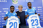 CD Leganes' new players Roger Assale (l) and Ibrahim Amadou (r) with the general Manager Txema Indias during their official presentation.  February 3, 2020. (ALTERPHOTOS/Acero)