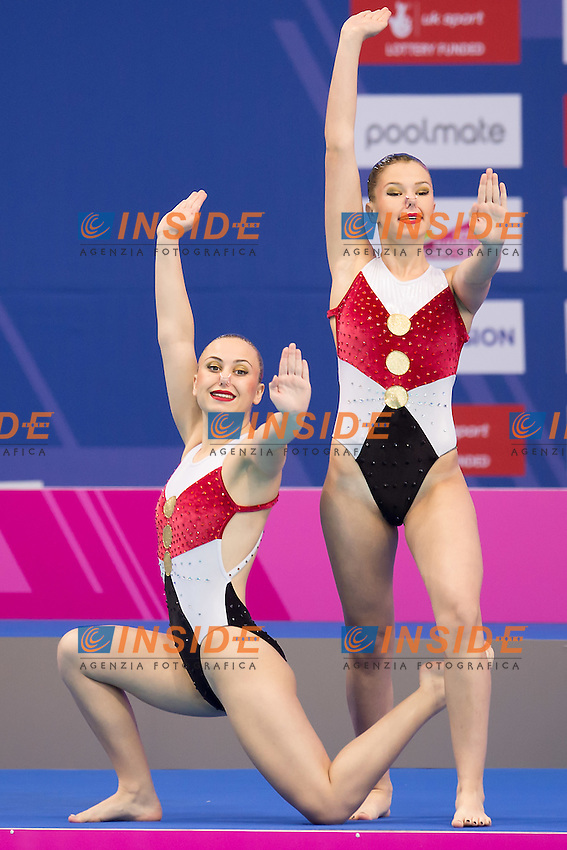 MAJSTOROVIC Snezana  SRB PUDAR Jana  SRB<br /> London, Queen Elizabeth II Olympic Park Pool <br /> LEN 2016 European Aquatics Elite Championships <br /> Synchronised Swimming Synchro Duet Tech<br /> Day 06 13-05-2016<br /> Photo Giorgio Scala/Deepbluemedia/Insidefoto