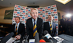 Gordon Strachan is appointed as the new Scotland manager as he takes his seat next to Campbell Ogilvie and Stewart Regan.
