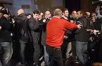 Roma, 2 Dicembre 2012.Teatro Capranica.PierLuigi Bersani festeggia la vittoria delle primarie.Bersani circondato da stampa e staff