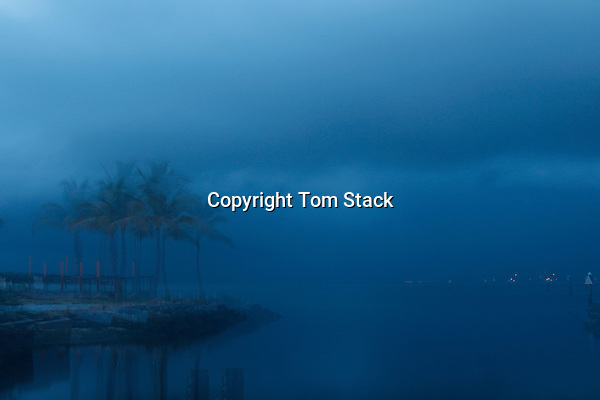 A long exposure of a stormy, pre-dawn morning in Key Largo, FL