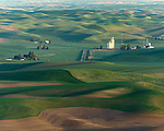 The Palouse, Whitman County, WA: Isolated farms and grain elevator amid rolling wheat fields