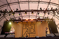 19th July 2014: Swedish folk duo First Aid Kit play the Obelisk Arena on the third day of the 9th edition of the Latitude Festival, Henham Park, Suffolk.<br /> Members: Johanna and Klara S&ouml;derberg<br /> Picture by Stuart Hogben