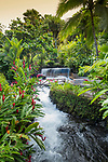 Thermal waterfalls and pools heated by the magma of the Arneal Volcano at the Tabacon Resort in La Fortuna, Costa Rica.
