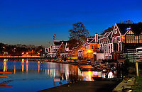 Boathouse Row and the Schuylkill River at night Philadelphia Pennsylvania